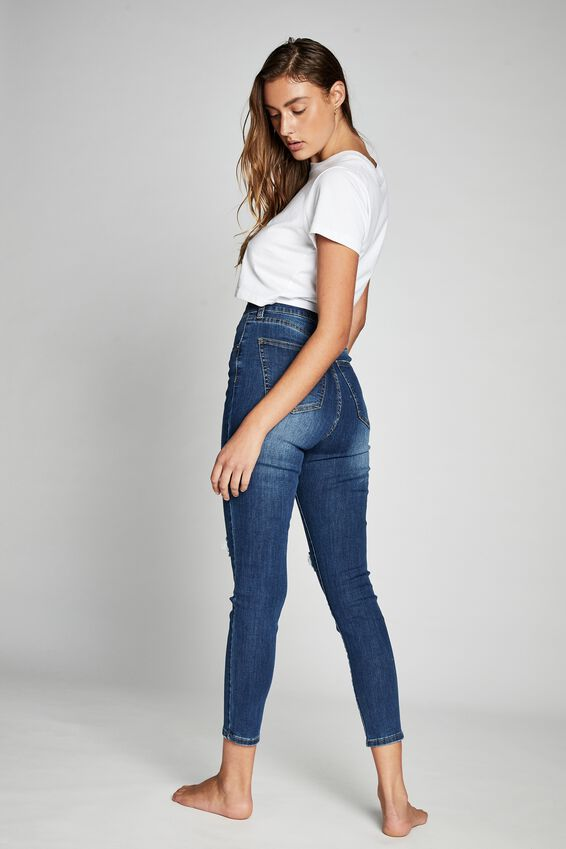 High Rise Cropped Skinny Jean, BERKLEY BLUE RIP