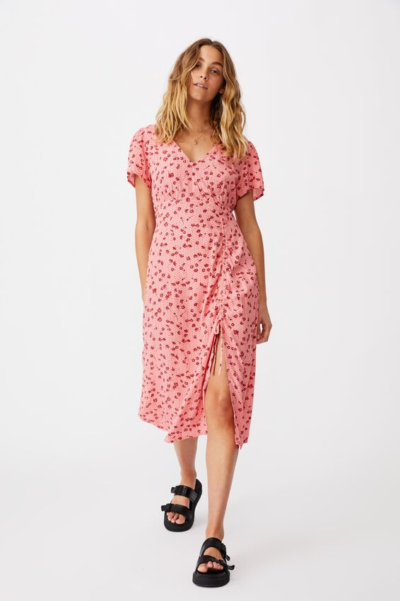 Woven Imogen Ruched Midi Dress, LAURA DITSY MUSK PINK