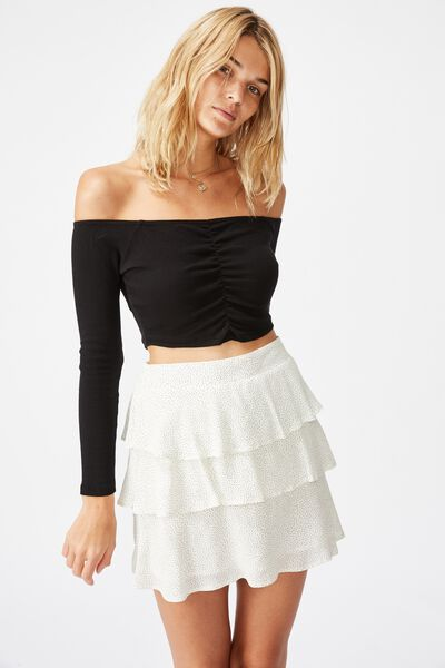 Byron Tiered Mini Skirt, ROSIE SPOT GARDENIA