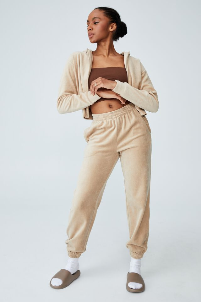 Velour Trackpant, LINEN TAUPE