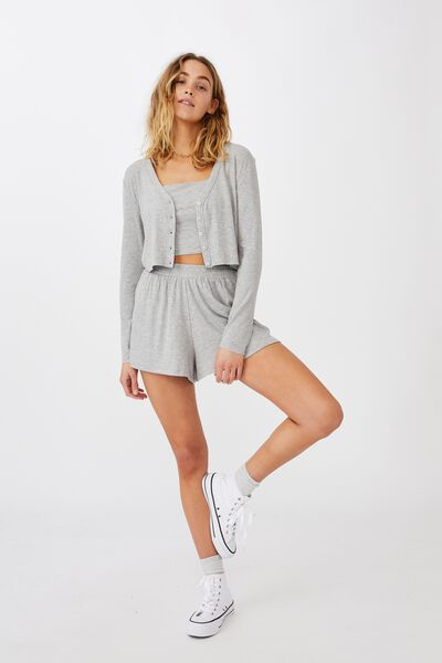 Piper Button Through Cropped Cardigan, GREY MARLE