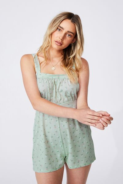 Lina Ruched Front Playsuit, DELILA DITSY SPRING MINT