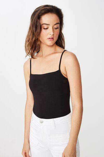 Carissa Straight Back Bodysuit, BLACK