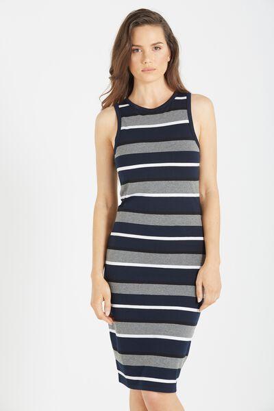 Lena Midi Dress, MOONLIGHT/WHITE/GREY MARLE/BLACK AVON STRIPE