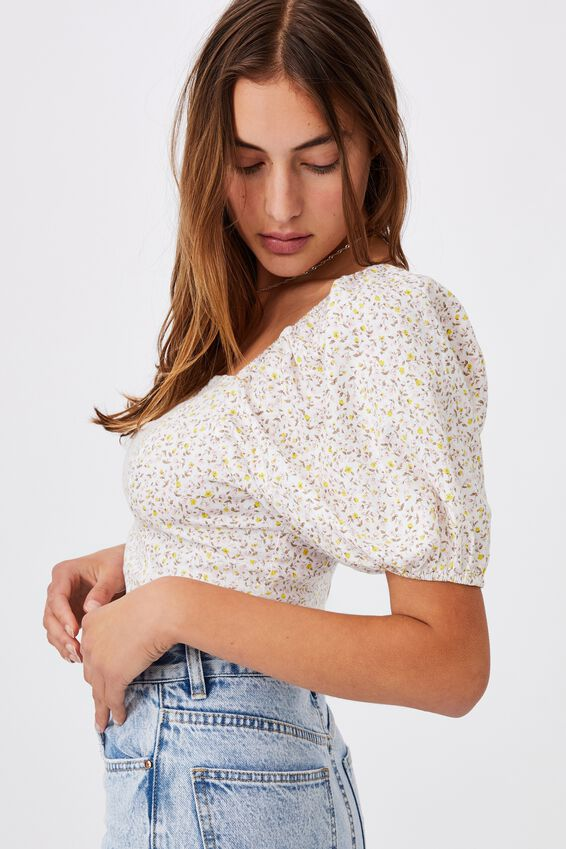 Evie Balloon Sleeve Cropped Blouse, ROBYN DITSY WHITE