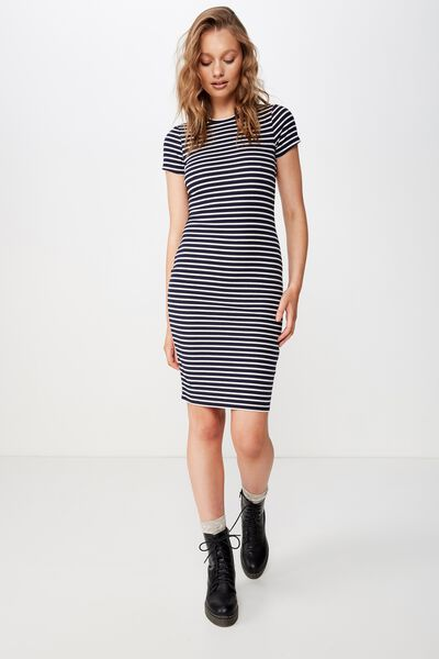 Giselle Short Sleeve Midi Dress, BEAU STRIPE MOONLIGHT/ WHITE RIB