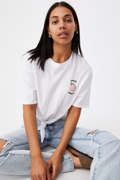 Drop Shoulder Tie Front Tee, PEACH PLEASE/WHITE