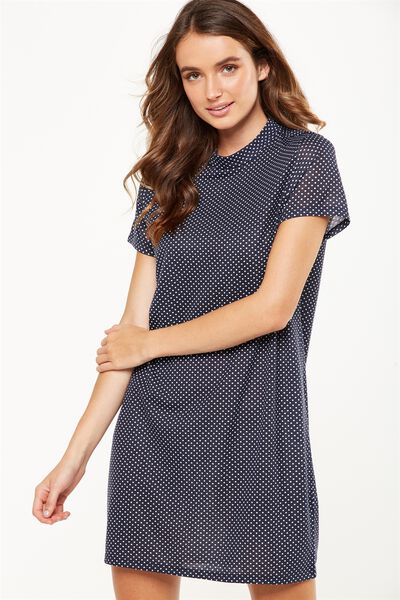 Daria Short Sleeve High Neck Dress, KARLA SPOT TOTAL ECLIPSE