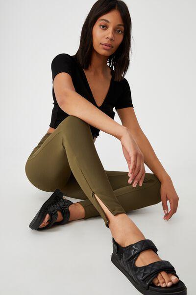 Side Zip Rib Legging, DUSTY OLIVE