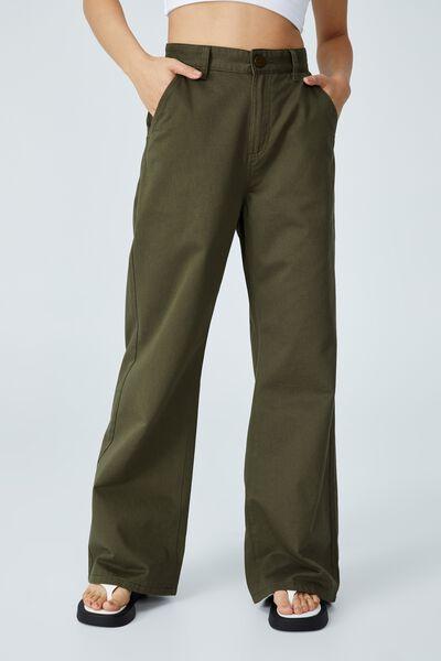 Petite Parker Long Straight Pant, DUSTY OLIVE