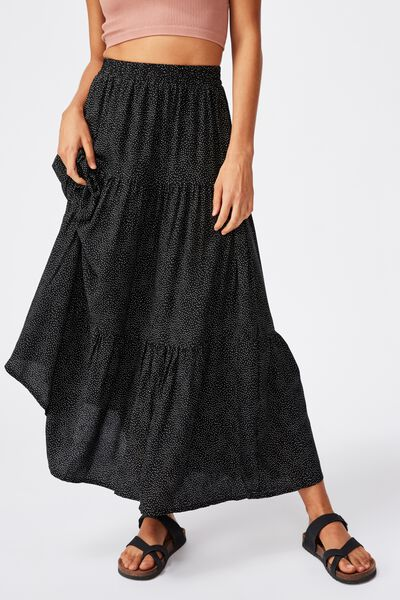 Jasmine Maxi Skirt, ROSIE SPOT BLACK