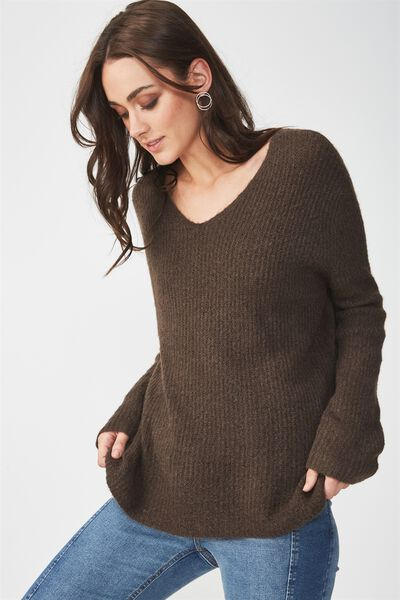 Vinnie V Neck Luxe Pullover, CHOCOLATE