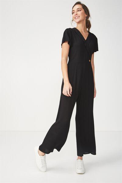 Woven Maxine Jumpsuit, BLACK