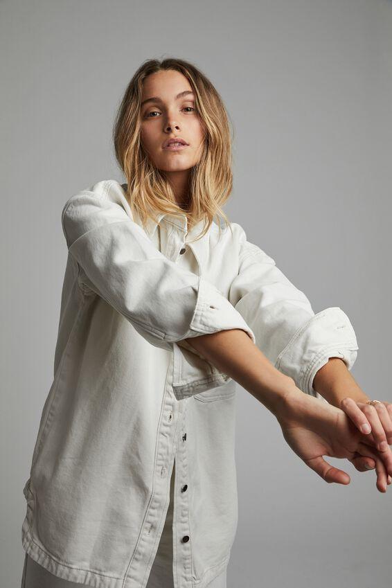 Oversized Denim Shirt Jacket, WHITE HAVEN