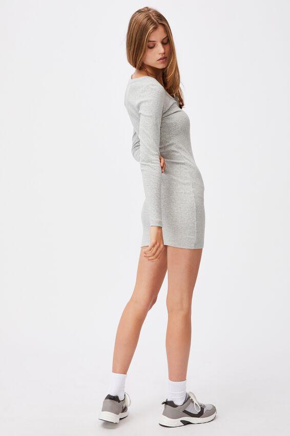 Heidi Long Sleeve Henley Mini Dress, GREY MARLE