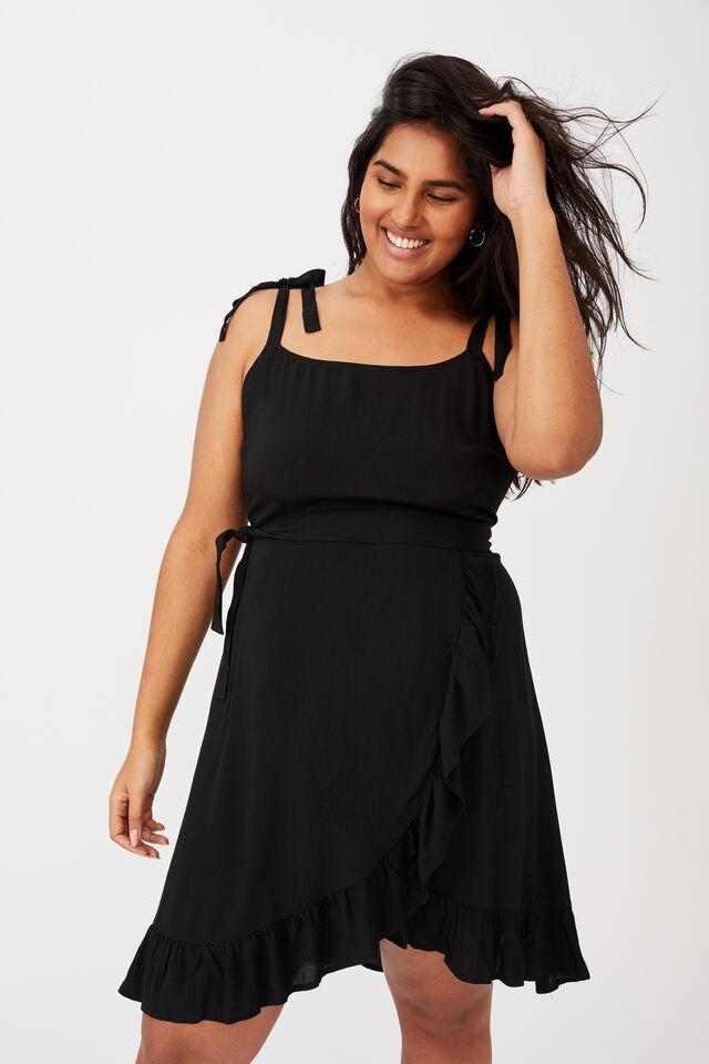 Curve Woven Kaela Mini Dress, BLACK