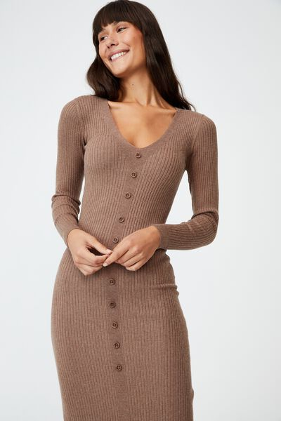 Tommy Long Sleeve Button Through Knit Midi Dress, COCOA BEAN MARLE