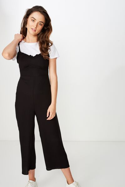 Woven Tash Strappy Jumpsuit, BLACK
