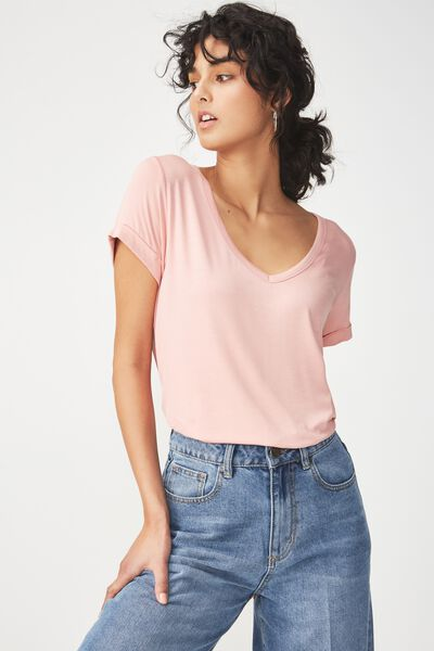 Karly Short Sleeve V Neck Top, PEACH PINK