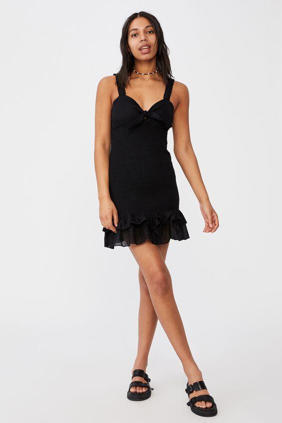 Woven Mia Tie Front Shirred Mini Dress, BLACK