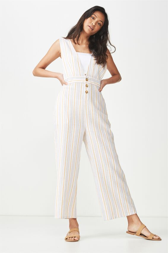 Woven Edie Low V Strappy Jumpsuit | Tuggl