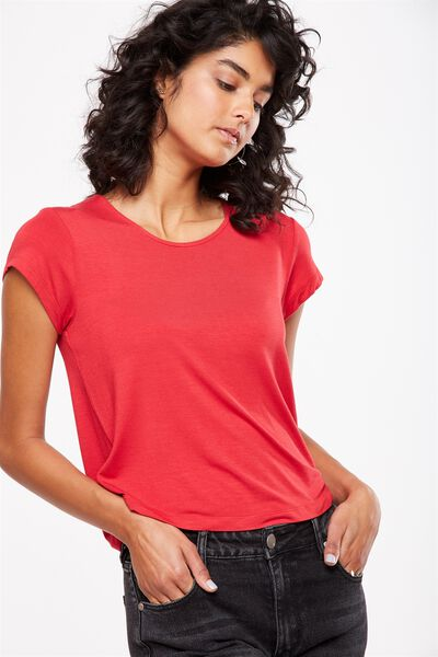 Madison Cap Sleeve Top, CHERRY RED