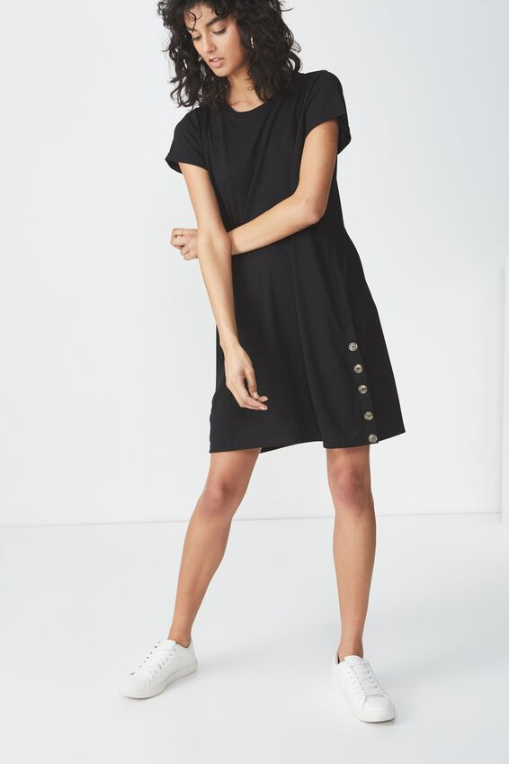 Tina Tshirt Dress 2, SIDE BUTTON BLACK
