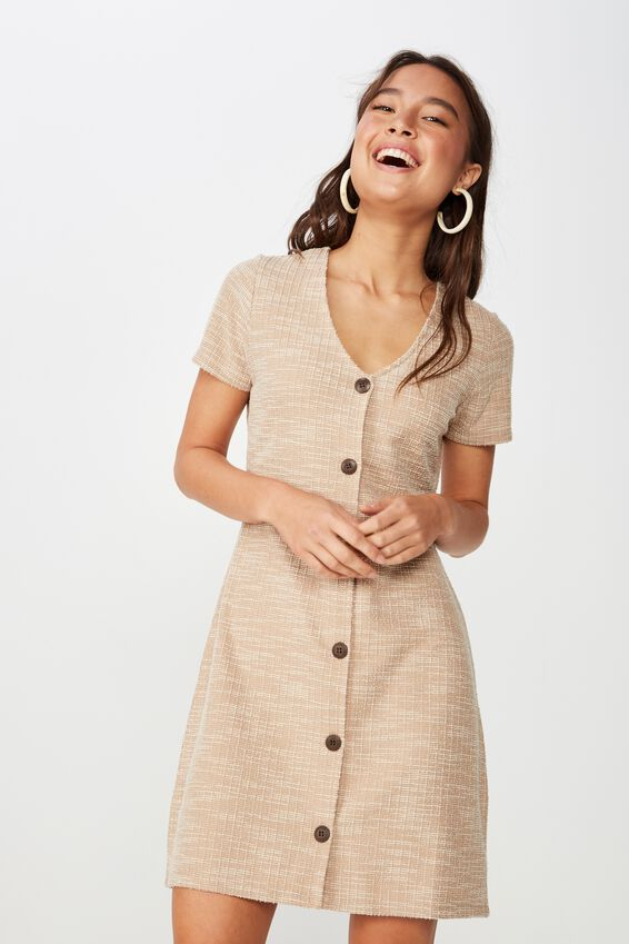 Marlow Button Through Mini Dress, ROEBUCK TWIST