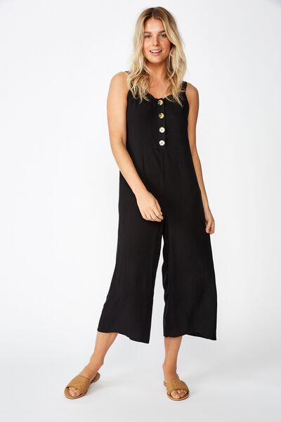 Woven Adaline Strappy Jumpsuit, BLACK