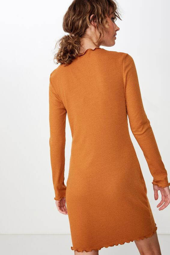 Grace High Neck Long Sleeve Mini Dress, GLAZED GINGER RIB