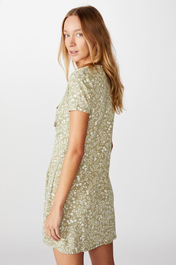 Yasmine Gathered Short Sleeve Mini Dress, BLAIR FLORAL PAISLEY TEA