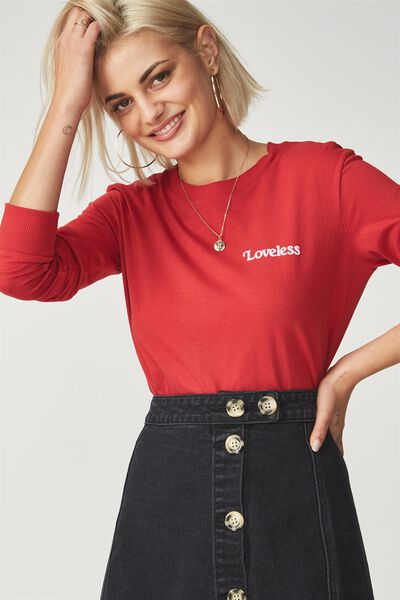 Tbar Tammy Chopped Graphic Long Sleeve Tee, LOVELESS/CHILLI RED