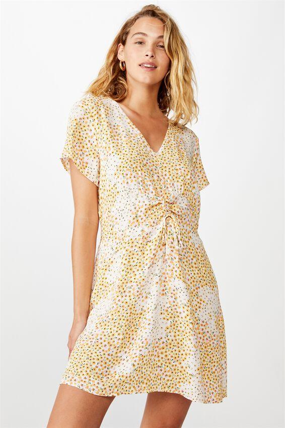 Woven Marissa Gathered Front Mini Dress, MANDY MULTI DITSY GARDENIA