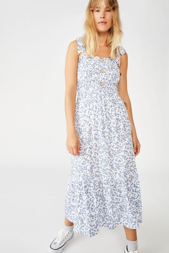 Woven Carol Shirred Ruffle Midi Dress, CORA DITSY WHITE