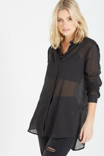 Longline Beach Shirt, BLACK