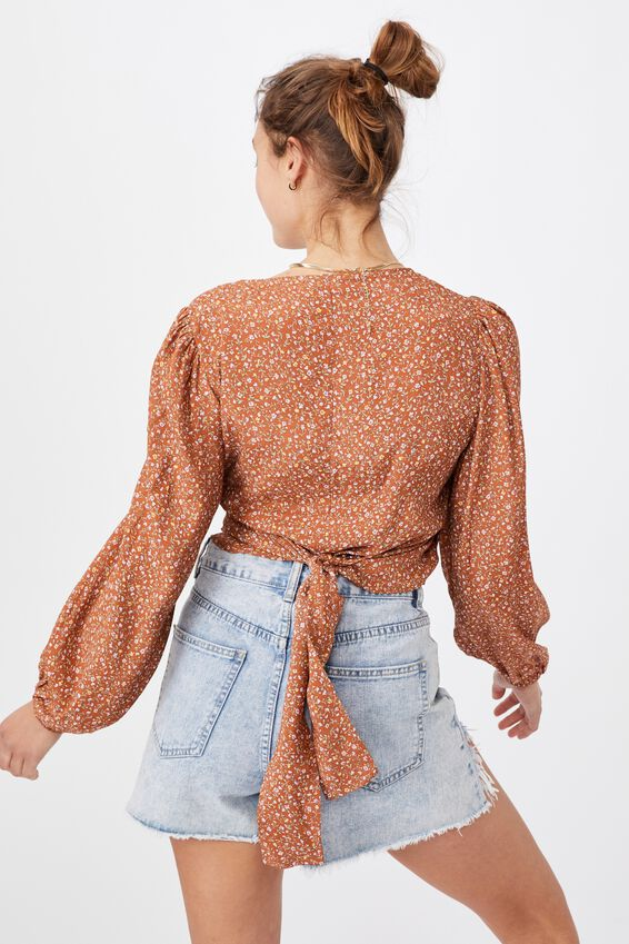 Willow Puff Sleeve Wrap Blouse, ROBYN DITSY TAN MULTI