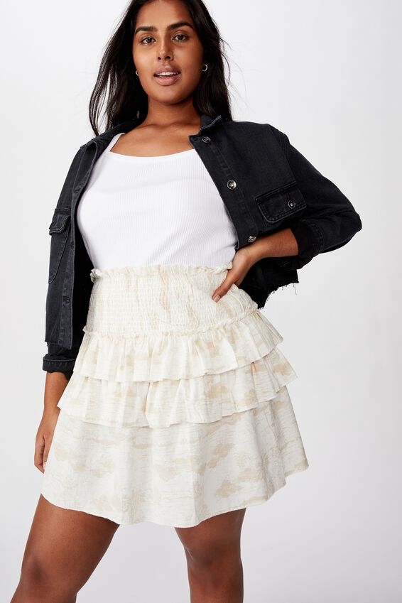 Curve Woven Scarlet Shirred Mini Skirt, TAMMY TROPICAL PARCHMENT