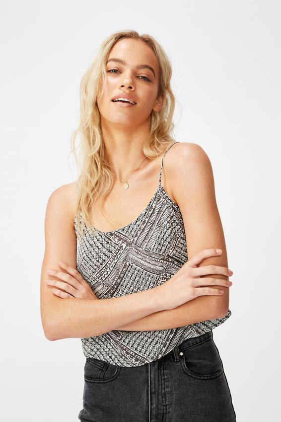 Astrid Cropped Scoop Neck Cami, BILLIE SPLICED GEO BLACK