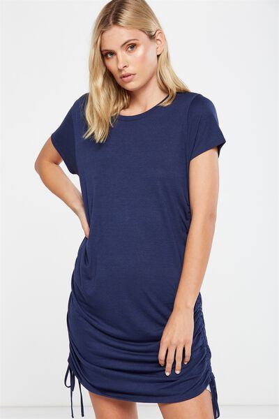 Shaniqua Rouched Side T-Shirt Dress, SPACE NAVY