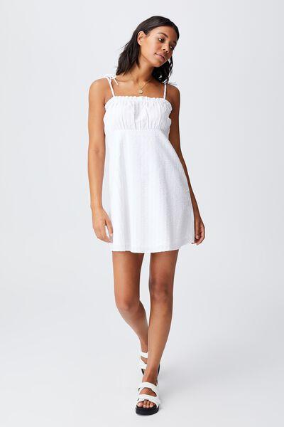 Woven Matilda Tie Strappy Mini Dress, WHITE