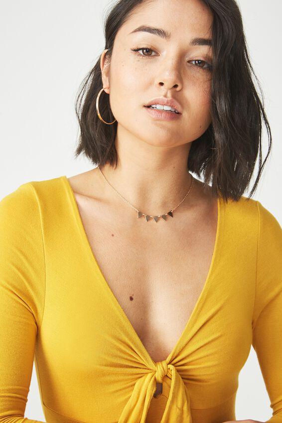 Liza Knot Front Long Sleeve Bodysuit, GOLDEN SUN