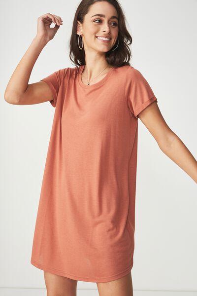 Tina Tshirt Dress 2, COPPER BROWN