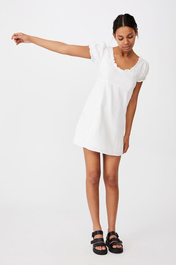 Woven Lydia Ruffle Edge Mini Dress, WHITE