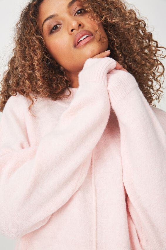 Renee Curved Hem Luxe Pullover, PINK MIST