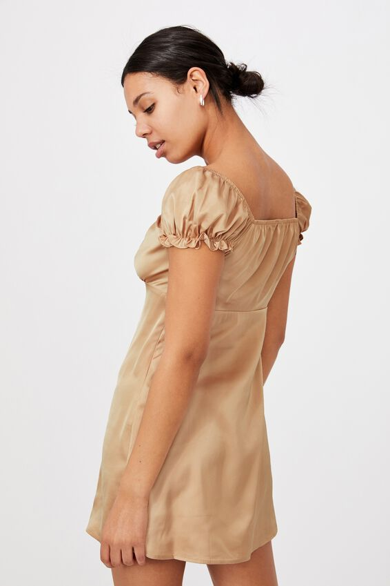 Woven Zuri Milk Maid Mini Dress, SAND DUNE