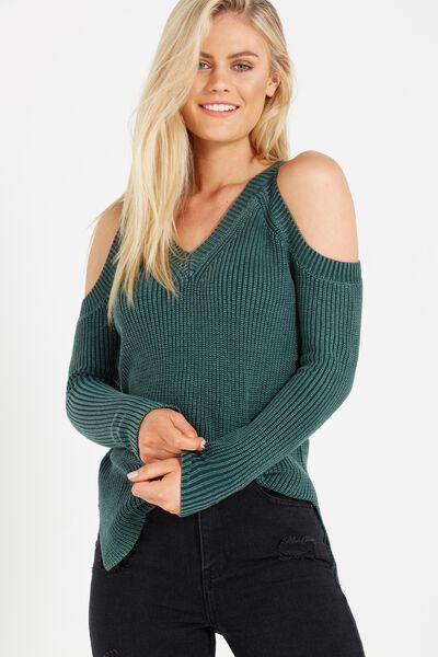 Reset V Neck Cold Shoulder Pullover, GREEN GABLES WASH