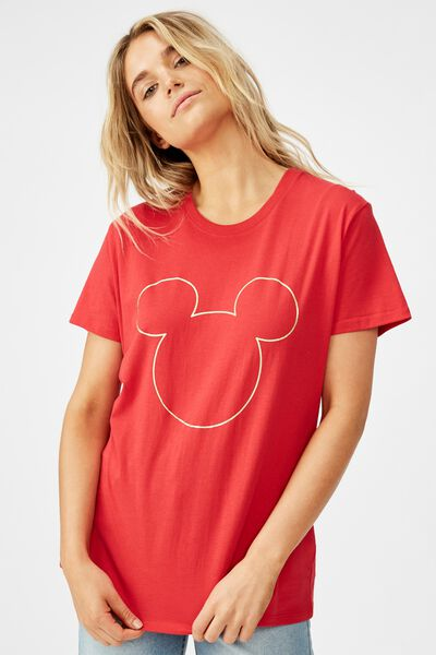 Classic Cny T Shirt, CNY LCN DIS MICKEY FOIL OUTLINE/CHILI RED