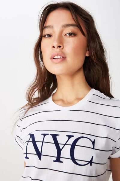 Classic Slogan T Shirt, NYC WHITE/MOONLIGHT STRIPE