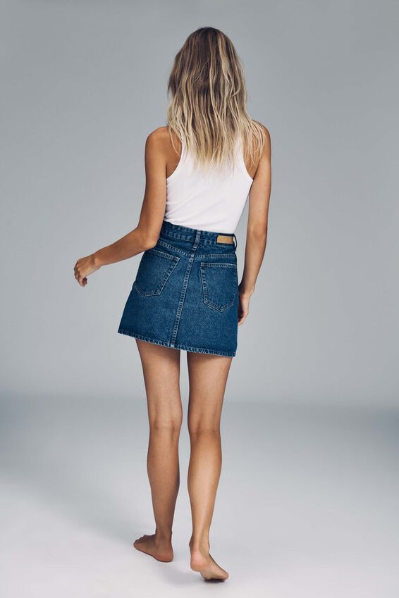 The Classic Denim Skirt, COOGEE BLUE