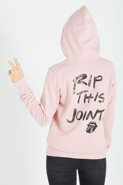 Delevingne Graphic Hoodie, LCN ROLLING STONES/COSMETIC PINK